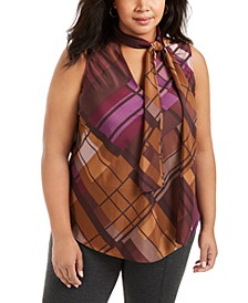 Plus Size Plaid Tie-Neck Top