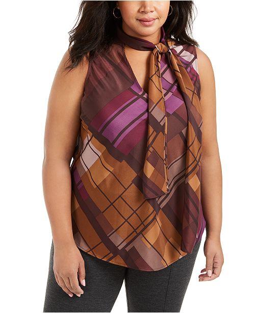 Nine West Plus Size Plaid Tie-Neck Top