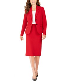 Kasper Crepe Two-Button Jacket & Midi Pencil Skirt