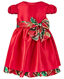 Bonnie Baby Baby Girls Metallic Plaid Shantung Dress