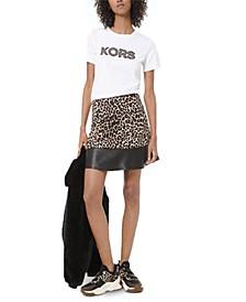Leopard Print & Faux Leather Mini Skirt, Regular & Petite Sizes