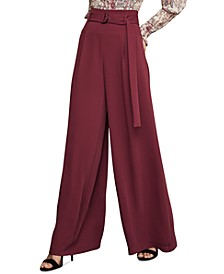 D-Ring Belted Wide-Leg Matte Satin Pants