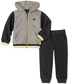 Little Boys 2-Pc. Colorblocked Full-Zip Hoodie & Fleece Sweatpants Set