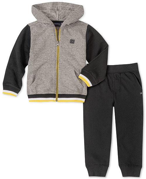 Calvin Klein Toddler Boys 2-Pc. Colorblocked Full-Zip Hoodie & Fleece Sweatpants Set