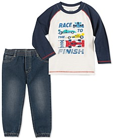 Little Boys 2-Pc. Race To The Finish T-Shirt & Denim Joggers Set