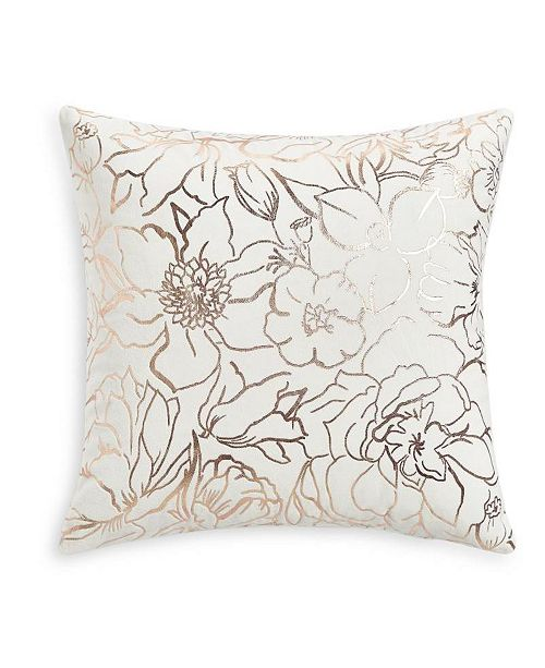 """Martha Stewart Collection Floral Silhouettes 18""""x18"""" Decorative Pillow, Created for Macy's"""