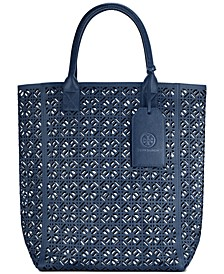 Receive a complimentary Fretwork Tote with the purchase of $125 or more from the Tory Burch Fragrance Collection