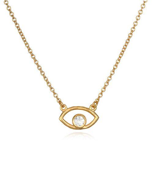 """Satya Jewelry White Topaz Gold Eye 18"""" Necklace"""