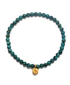 Satya Jewelry Turquoise Gold Mini OM Stretch Bracelet
