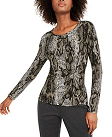 INC Animal-Print Twist-Front Top, Created For Macy's