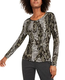 I.N.C. Animal-Print Twist-Front Top, Created For Macy's