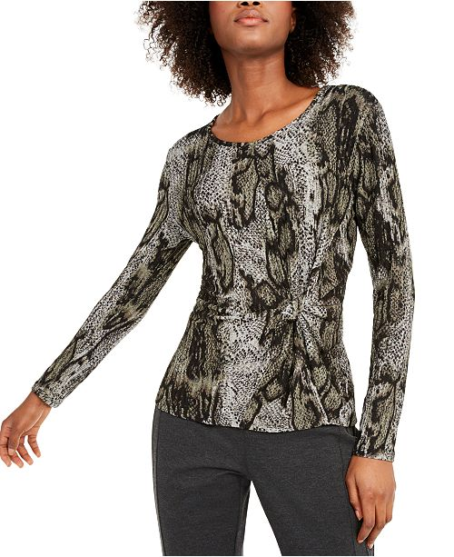 INC International Concepts INC Animal-Print Twist-Front Top, Created For Macy's