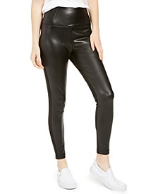 Juniors' Topson Faux-Leather Leggings with Ponte-Knit Back