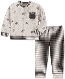 Baby Boys 2-Pc. Stars & Stripes Cardigan & Pants Set