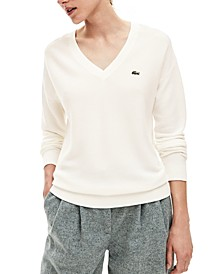 Cotton V-Neck Ribbed Sweater
