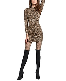 Mock-Neck Animal-Print Dress
