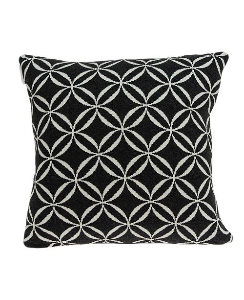 Parkland Collection Aria Transitional Black Pillow Cover with Polyester Insert