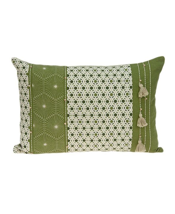 Parkland Collection Omini Tropical Green Pillow Cover with Polyester Insert