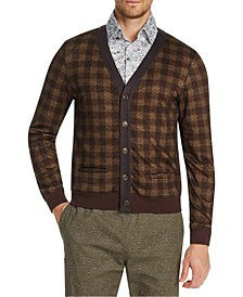 Men's Slim-Fit Stretch Plaid Cardigan