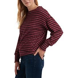 Striped Smocked-Cuff Sweatshirt