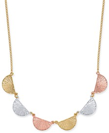 """Tri-Tone Fan Statement Necklace, 18"""" + 2"""" extender, Created for Macy's"""
