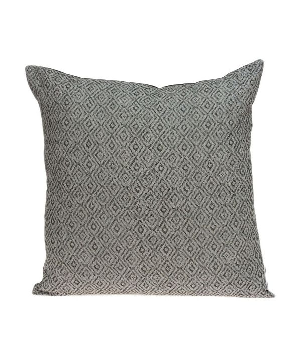 Parkland Collection Mudra Transitional Grey Pillow Cover With Down Insert