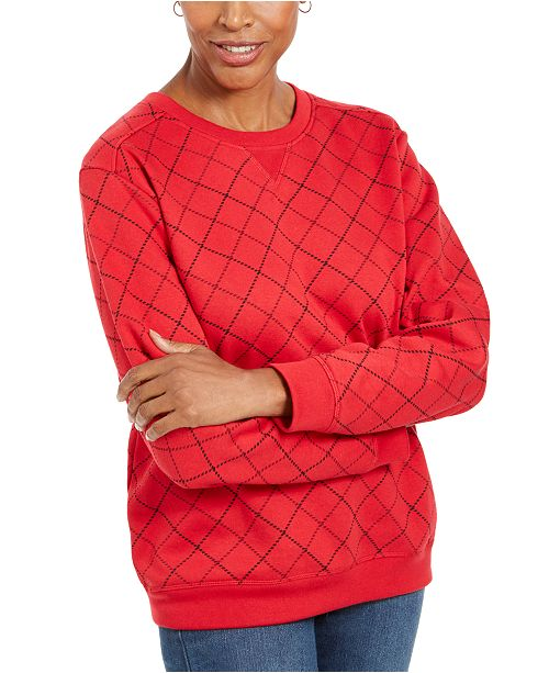 Karen Scott Sport Printed Crewneck Sweatshirt, Created For Macy's