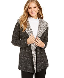 Hooded Sherpa-Lined Cardigan, Created For Macy's