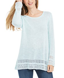 Pointelle-Trim Marled Tunic Sweater, Created For Macy's