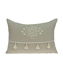 Lea Transitional Beige Pillow Cover With Down Insert