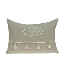 Parkland Collection Lea Transitional Beige Pillow Cover With Down Insert