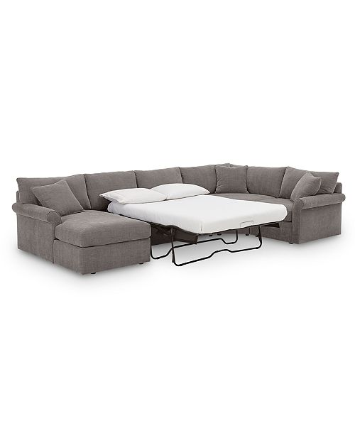 Fabric Modular Chaise Sleeper Sectional