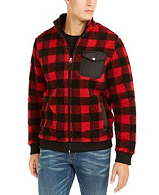 Men's Full-Zip Plaid Sherpa Jacket, Created For Macy's