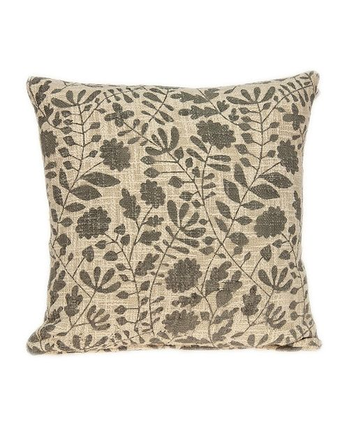 Parkland Collection Hina Transitional Beige Floral Print Pillow Cover With Down Insert