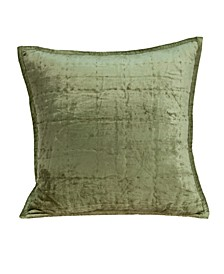 Pilas Transitional Olive Solid Quilted Pillow Cover With Down Insert