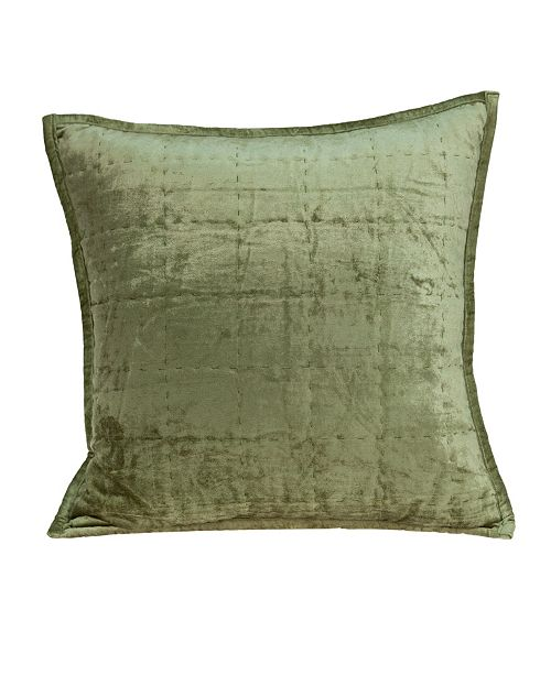 Parkland Collection Pilas Transitional Olive Solid Quilted Pillow Cover With Down Insert