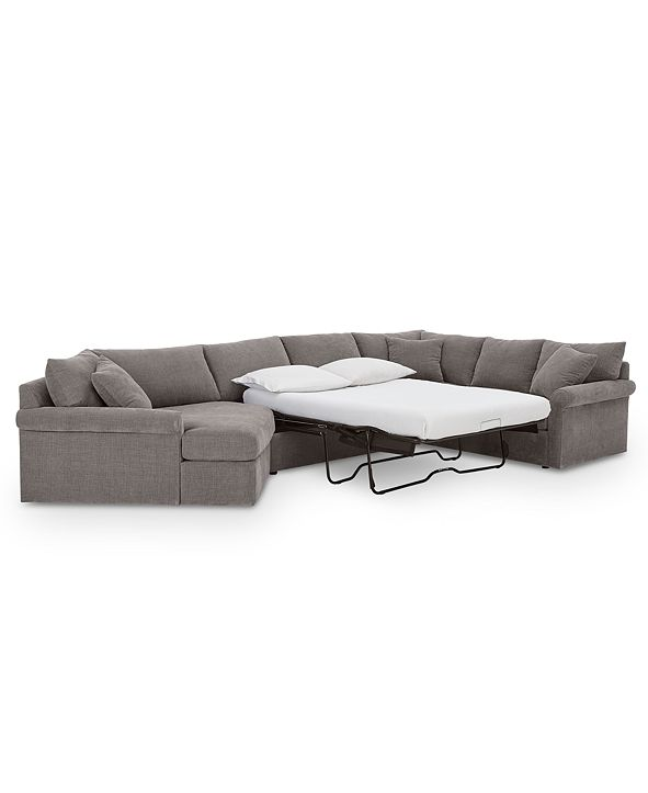 Furniture Wedport 3-Pc. Fabric Sofa Return Sleeper Sectional with Cuddler, Created for Macy's