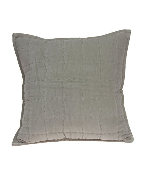Parkland Collection Kavi Transitional Grey Solid Quilted Pillow Cover With Down Insert