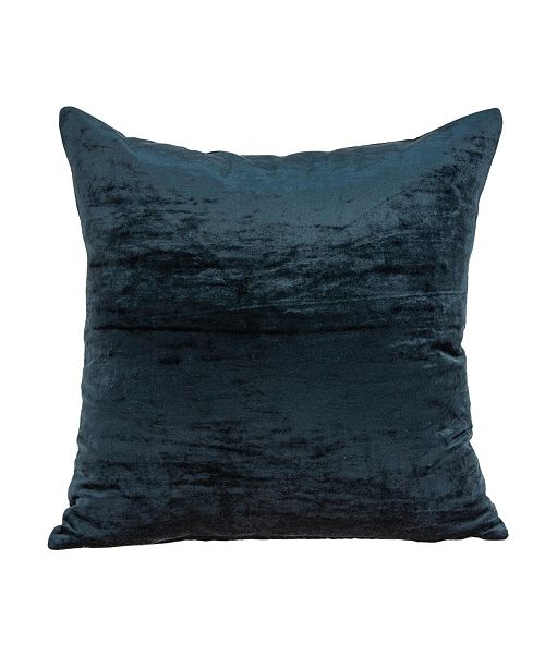 Parkland Collection Kyan Transitional Dark Blue Solid Pillow Cover With Down Insert