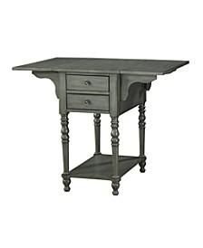 Drop Leaf 2 Drawer Side Table, Quick Ship