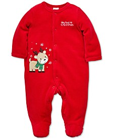 Baby Boys Reindeer Footed Velour Coverall