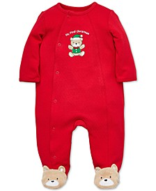 Baby Boys Cotton Teddy Bear Footed Coverall