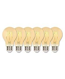 Lighting 2.5-Watt (25-Watt Equivalent) Amber A19 Dimmable Flexible Filament LED Light Bulb with Medium Base, Pack of 6