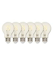 Lighting 2.5-Watt (25-Watt Equivalent) Clear A19 Dimmable Flexible Filament LED Light Bulb with Medium Base, Pack of 6