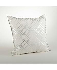 """Distressed Metallic Foil Print Throw Pillow, 20"""" x 20"""""""