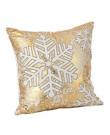 """Donnelou Snowflake Design Cotton Throw Pillow, 12"""" x 12"""""""