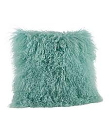 "Wool Mongolian Lamb Fur Decorative Pillow, 20"" x 20"""