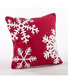 """Triple Snowflake Throw Pillow, 18"""" x 18"""""""
