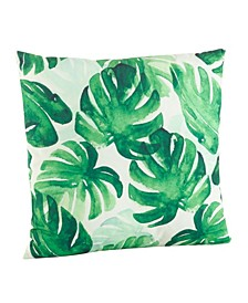 """Green Leaf Print Feathers Throw Pillow, 18"""" x 18"""""""