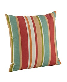 """Awning Stripe Indoor/Outdoor Classic Polyester Filled Throw Pillow, 17"""" x 17"""""""